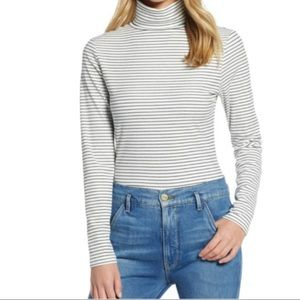 Halogen Ivory & Black Pinstriped Turtleneck S6 NWT
